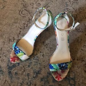 Floral Heeled Sandal with Ankle Strap